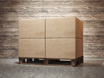 Cardboard boxes on palette. 3d rendering Royalty Free Stock Photo