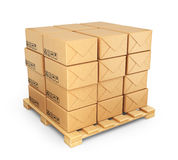 Cardboard boxes on palette. Deliver concept. 3D Icon isolated Stock Image