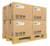 Cardboard boxes on pallet. Isolated over white background Stock Image
