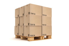 Cardboard boxes on pallet. Cargo, delivery and transportation logistics storage Royalty Free Stock Photography
