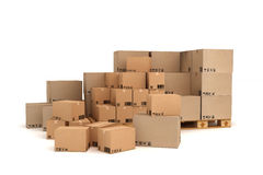 Cardboard boxes on pallet. Cargo, delivery and transportation logistics storage Stock Images
