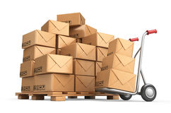 Cardboard boxes on pallet. Cargo, delivery and transportation. Logistics storage. 3D Stock Photography