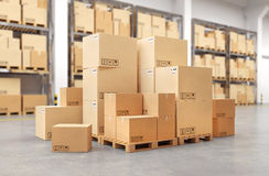 Cardboard boxes on a pallet. 3d illustration Stock Photos