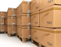 Cardboard boxes on pallet, delivery Royalty Free Stock Images