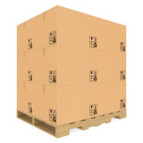 Cardboard boxes on pallet Stock Photography
