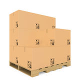 Cardboard boxes on pallet Royalty Free Stock Photo