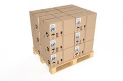 Cardboard boxes on pallet 2. Cardboard boxes on pallet isolated on white background Royalty Free Stock Images