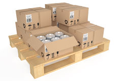 Cardboard boxes on pallet 2. Cardboard boxes on pallet isolated on white background Royalty Free Stock Photos