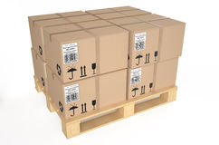 Cardboard boxes on pallet. Isolated on white background Royalty Free Stock Images
