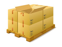 Cardboard boxes on a pallet in stock. Royalty Free Stock Photography