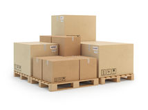 Cardboard boxes on a pallet.  on white background. Stock Photography