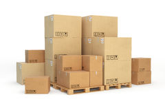 Cardboard boxes on a pallet.  on white background. Royalty Free Stock Photo