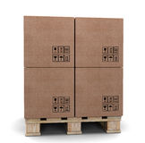 Cardboard boxes on a pallet. Stock Photos