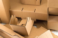 Cardboard boxes in a pile Royalty Free Stock Photos
