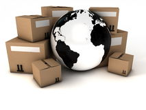 Cardboard boxes and planet earth Stock Photos