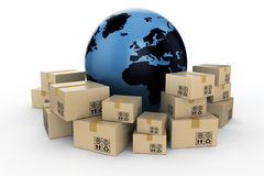 Cardboard boxes and planet earth. Render on white background Stock Photography