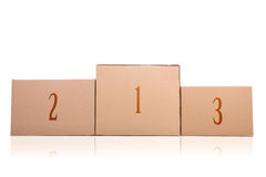 Cardboard boxes podium royalty free stock photo