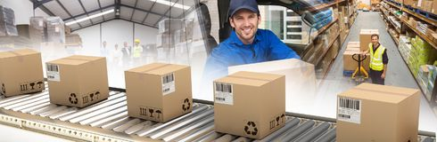 Composite image of cardboard boxes on production line. Cardboard boxes on production line against delivery driver offering parcel from his van royalty free stock image