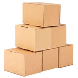 Cardboard boxes.Pyramid from boxes Royalty Free Stock Photos