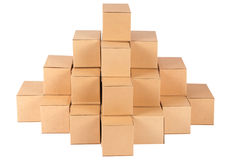 Cardboard boxes.Pyramid from boxes Stock Images
