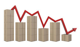 Cardboard boxes and red line like a chart Royalty Free Stock Photography