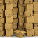 Cardboard boxes. Render on a white background Royalty Free Stock Image