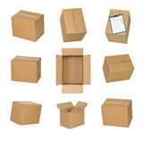 Cardboard boxes set isolated on white background. stock images