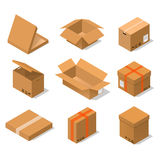 Cardboard Boxes Set Isometric View. Vector Stock Photography