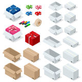 Cardboard Boxes, Set opened or closed, sealed with tape big or small format. Flat 3d style vector illustration isolated. On white background Royalty Free Stock Photo