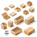 Cardboard boxes set. In vector stock illustration