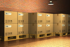 Cardboard boxes on shipping pallets Royalty Free Stock Photos