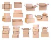Cardboard boxes isolated on white background royalty free stock image