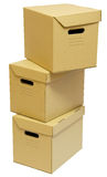 Cardboard boxes stack. Cardboard boxes with handles for a moving day Stock Photography