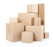 Cardboard boxes. Stack isolated on white, clipping path Stock Image