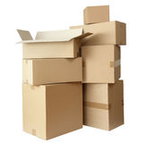 Cardboard boxes stack package Stock Photos