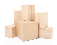 Cardboard boxes stack. On white, clipping path Royalty Free Stock Photography