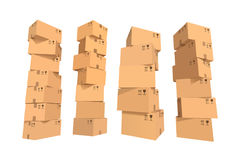 Cardboard boxes stacks Stock Images