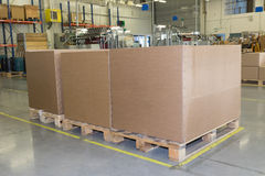 Cardboard boxes are standing in a designated place Stock Photography