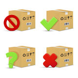 Cardboard boxes with stop and question signs, wrong and right check marks Royalty Free Stock Image