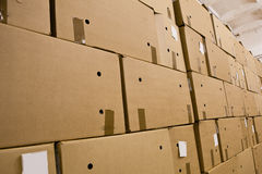 Cardboard boxes in the storehouse Stock Image