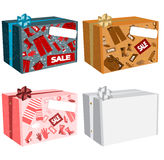 Cardboard boxes with text. Sale and place for text - set Royalty Free Stock Images