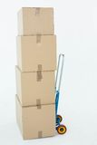 Cardboard boxes on trolley Stock Photos