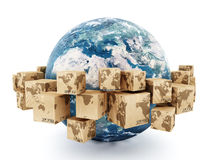 Cardboard boxes turning around the earth Stock Image