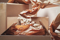 Cardboard boxes used Royalty Free Stock Photos