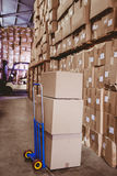 Cardboard boxes in warehouse Stock Photography