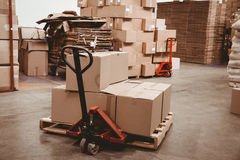 Cardboard boxes in warehouse Stock Images