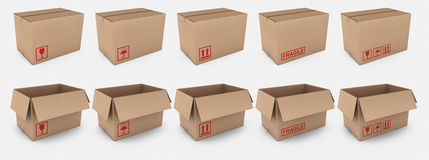 Cardboard boxes with warning labels. 3d rendering of open and closed cardboard boxes with different warning labels Stock Photos