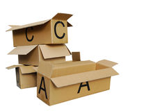 Cardboard boxes on white Stock Photography
