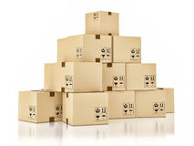 Cardboard boxes on white background, 3d illustration Stock Images