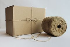 Cardboard boxes a hank of rope royalty free stock photography